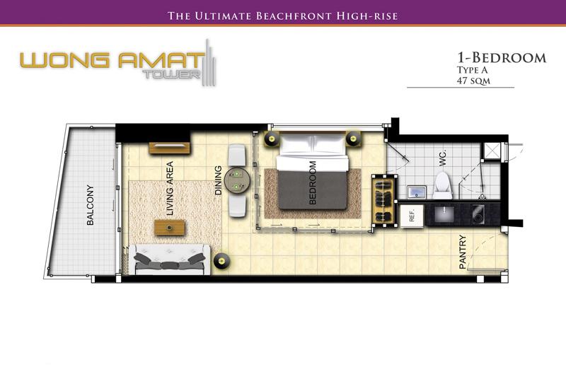 Great High Class Beachfront 1 Bedroom Condo: Wong Amat Tower, Naklua