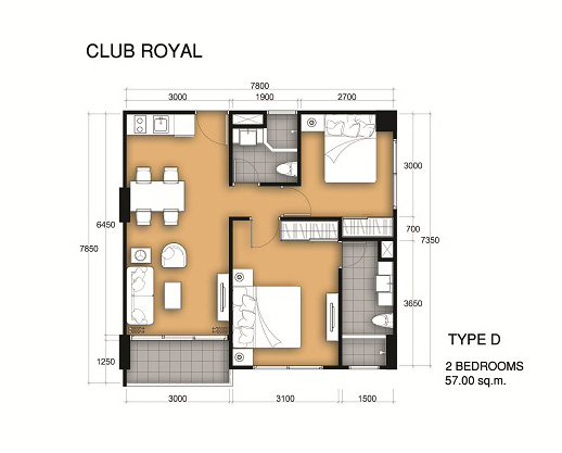 Near beach 2 bedroom apartment at club royal wong amart for 24 unit apartment building plans