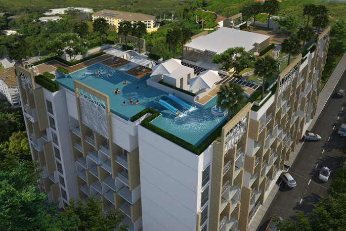 Water Park modern and spacious 1-bedroom Condo with balcony at top Pratumnak location for sale