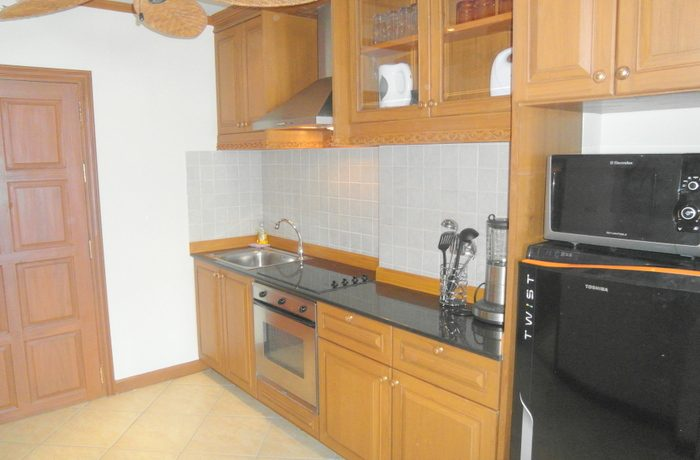 This fully furnished 61 sqm sea view studio offers quality open living containing a bedroom area